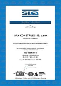 SAX Konstrukcije ISO certifikat